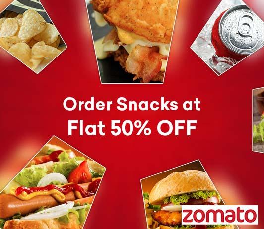 Zomato Snacks Flat 50% OFF