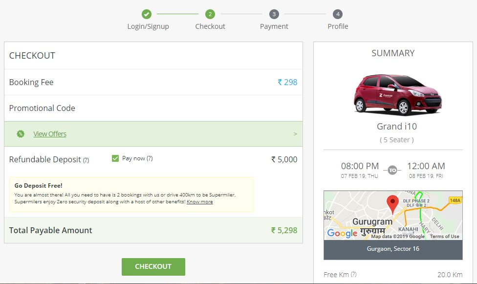 Zoomcar check out