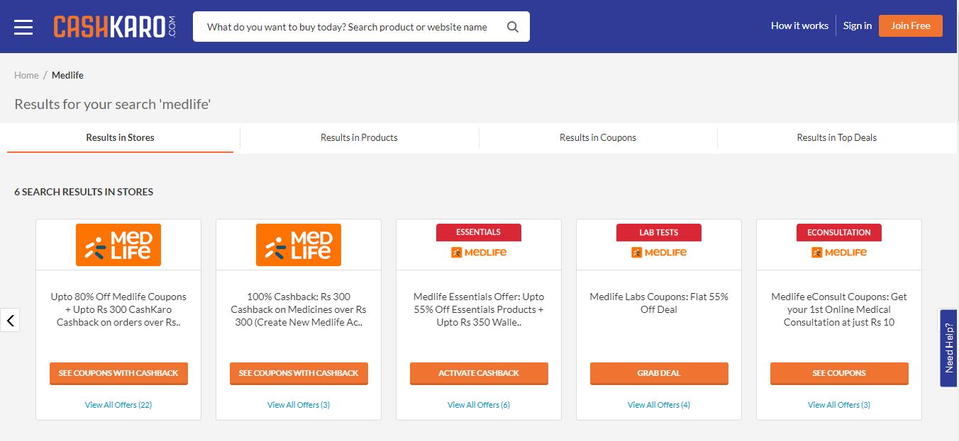 CashKaro's Medlife Store Page