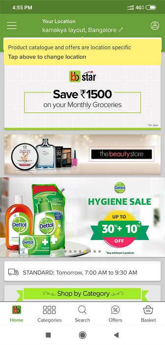 Login to the BigBasket website or app