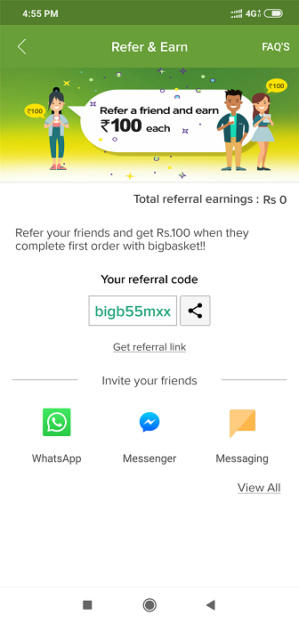 BigBasket Refer And Earn