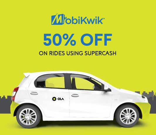 MobiKwik Ola Flat 50% Discount using SuperCash