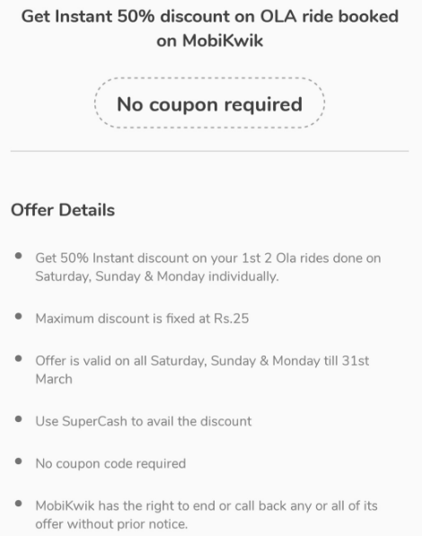 MobiKwik Ola Flat 50% discount with supercash