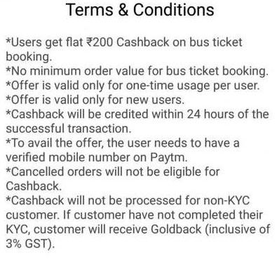 Paytm Bus Booking Offer - Terms and Conditions