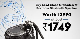 boAt Stone Grenade 5 W Portable Bluetooth Speaker Worth Rs 3990 at Just Rs 1749