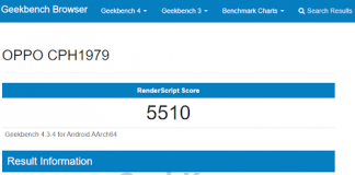Oppo CPH1979's New Variant Appears on Geekbench; RenderScript Score Revealed