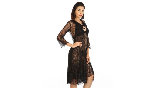 Shyle Black Babydoll with Matching G-string and Jacket