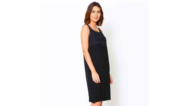 Shyle Black Lace Neckline Chemise Nightwear