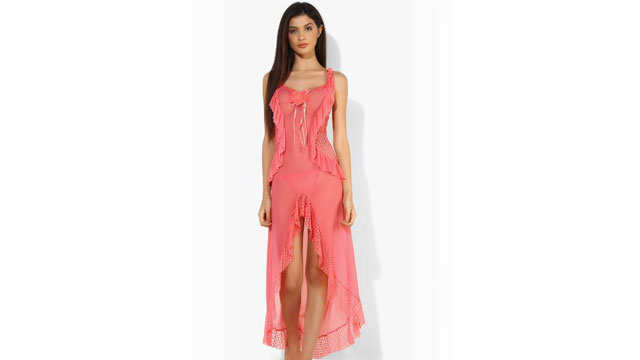 Shyle Coral Pink Mesh with Net and Frills Attached Babydoll dress