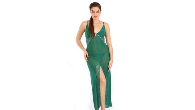 Shyle Forest Green Deep V-Neck Mesh Babydoll dress