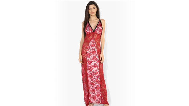 Shyle Maroon V Neck with Low Back Full Length Babydoll dress