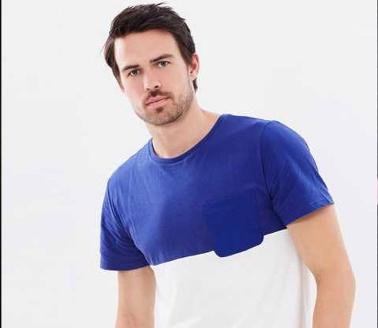 colourblock blue & white tshirt on ajio