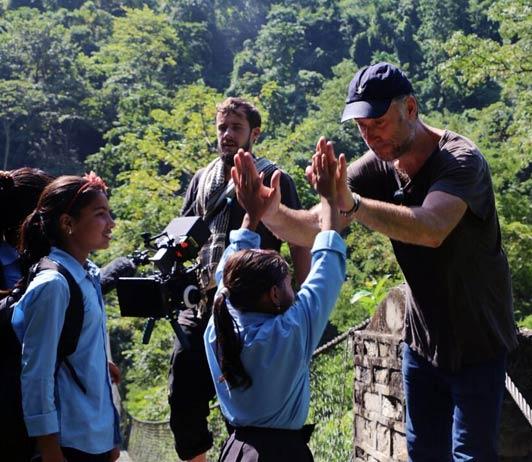 movie shooting crew with kids