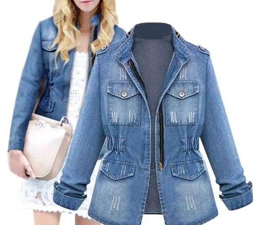 blue women's denim jacket