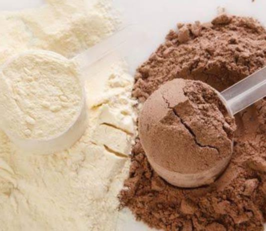chocolate and vanilla flavour protein powder