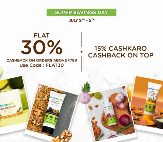 Limited Period Deal: Welcome Super Savings on Mamaearth via CashKaro