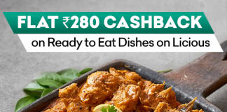 Flat Rs.280 Cashback on Ready to Eat Dishes on Licious