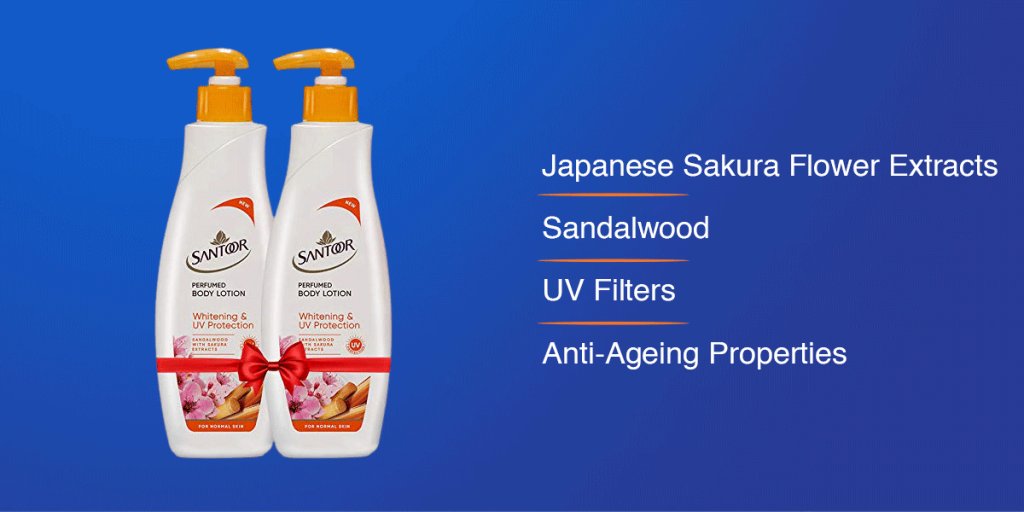 Santoor UV Protection Whitening Body Lotion