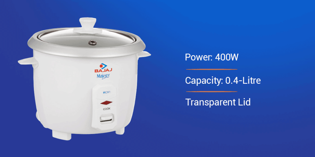 Bajaj Majesty RCX 1 Mini 0.4-Litre Electric Rice Cooker