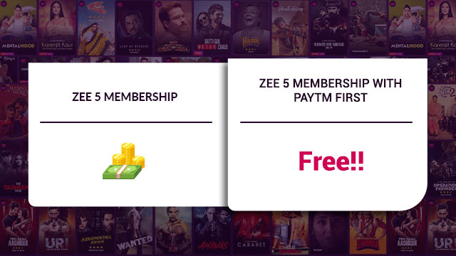 Paytm First Membership Free Zee5 Subscription