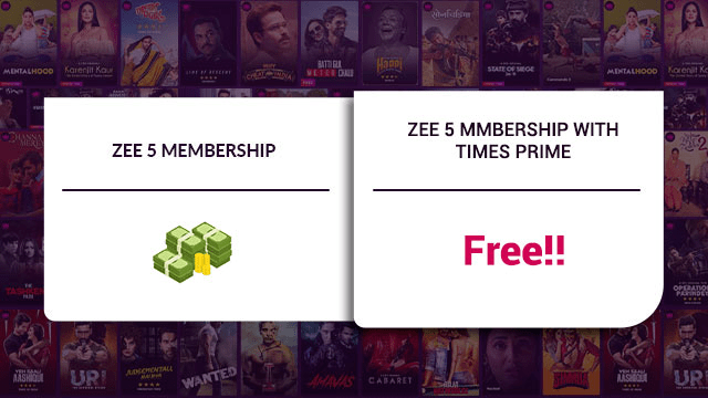 Times Prime Membership Zee5 Free Subscription