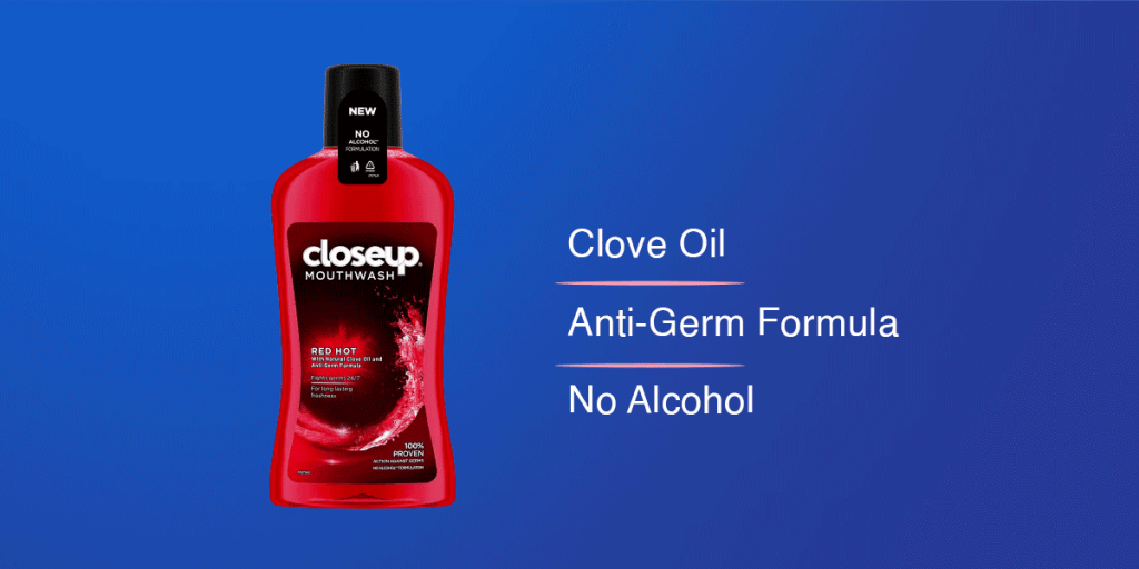 Closeup Red Hot Anti Germ Mouthwash