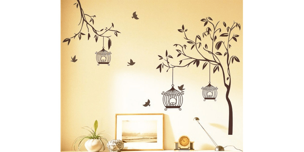 Decals Design Tree with Bird Cages Wall Sticker