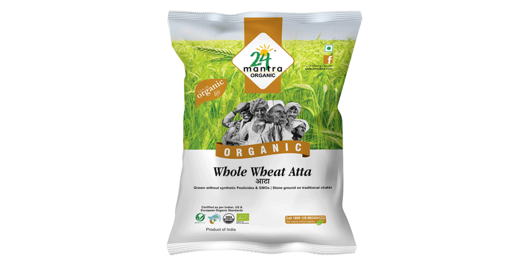 24 Mantra Organic Whole Wheat Atta, 1 kg