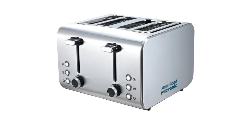 American Micronic 4-Slice Stainless Steel Pop-up Toaster