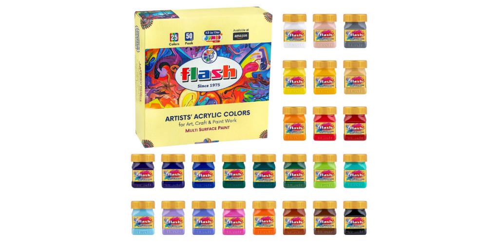 Flash Multicolour Acrylic Paint Set