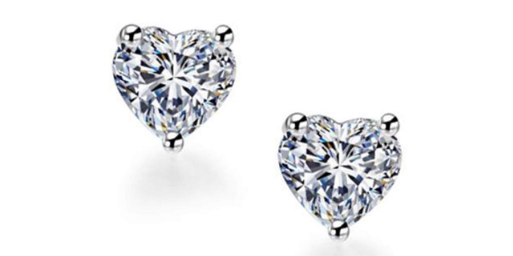 Classic Silver Zircon Heart Stud Earrings
