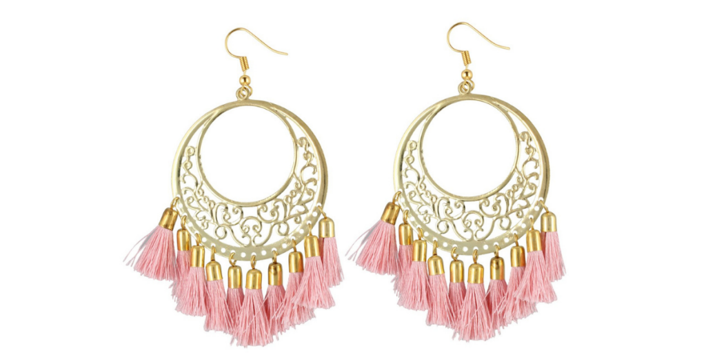 Oxidized Golden and Pink Tassel Earrings