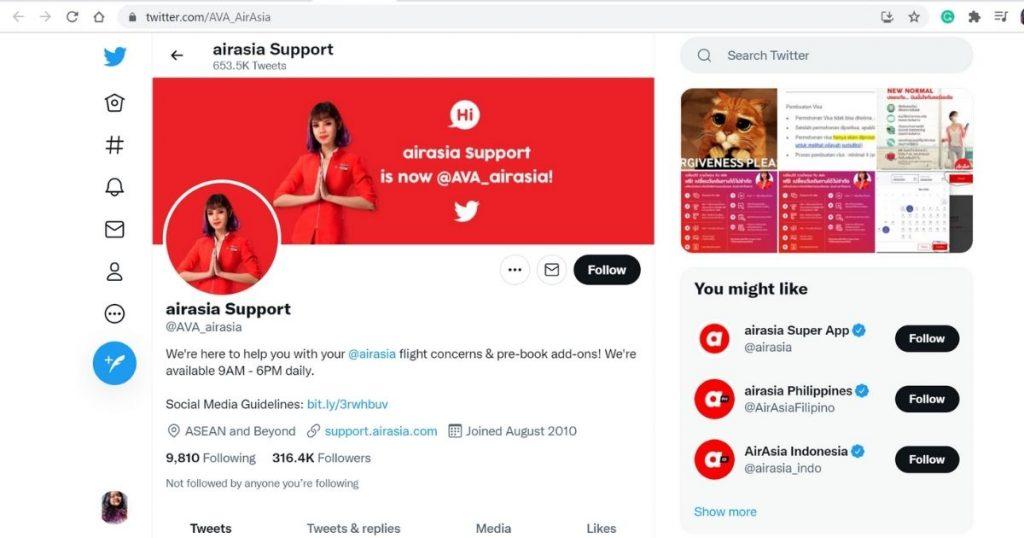 AirAsia Twitter Handle