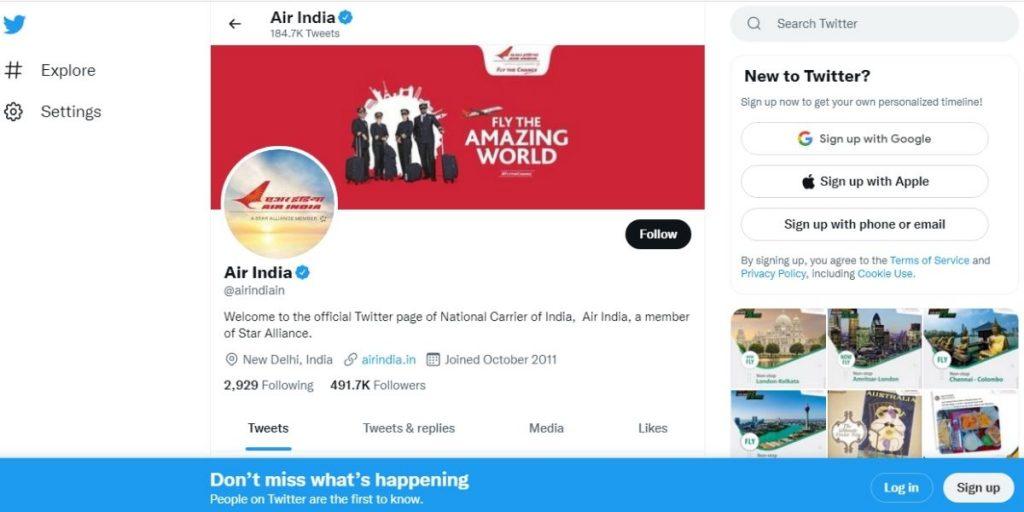 Air India Twitter