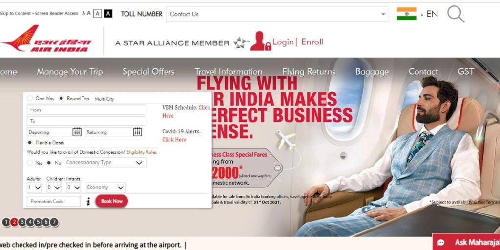 Air India Website