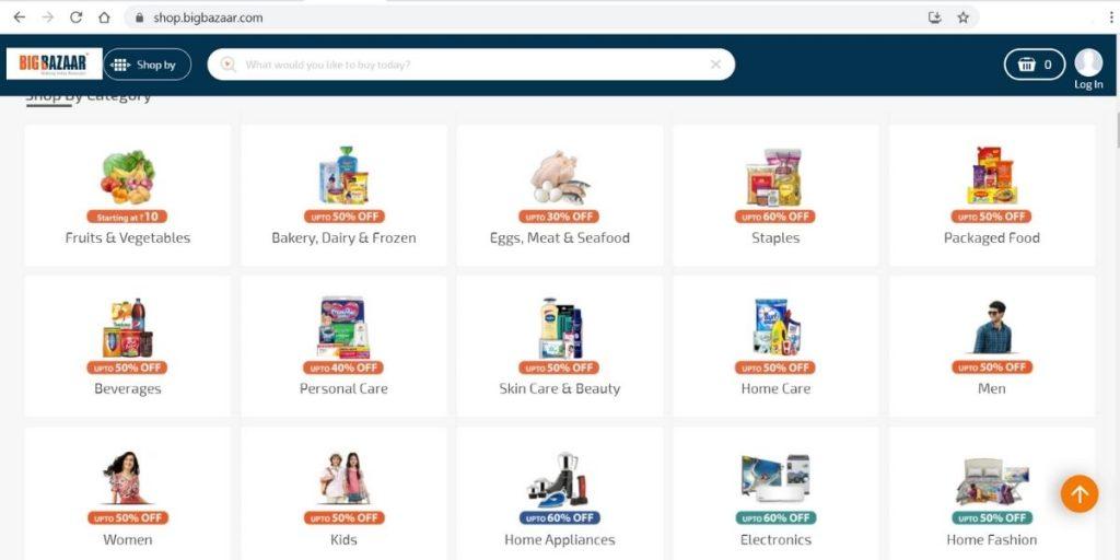 Big Bazaar Website