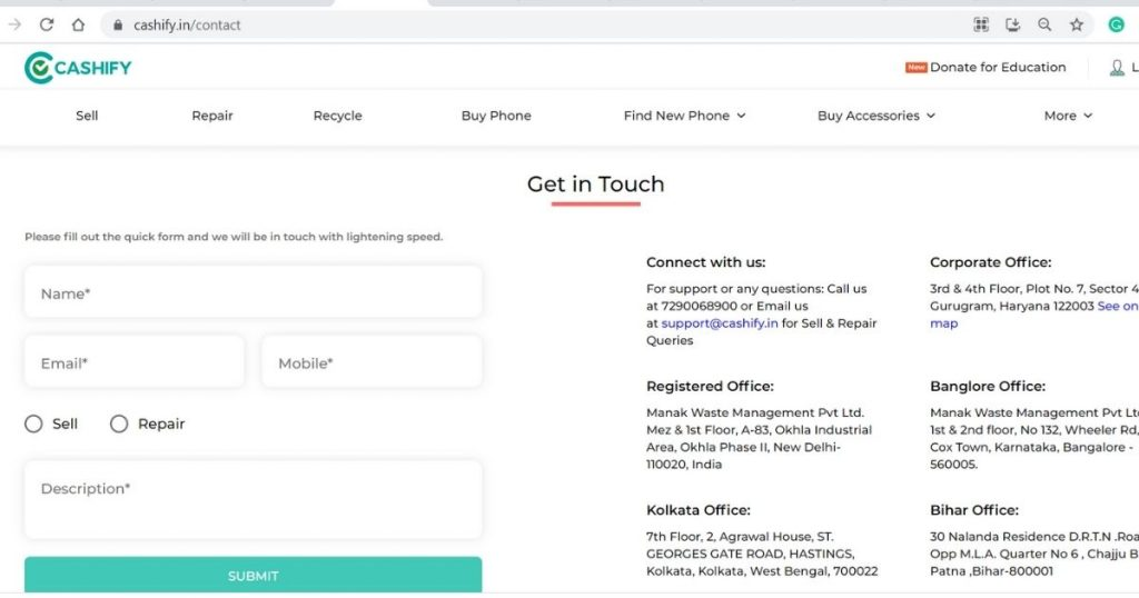 Cashify Contact Us Page