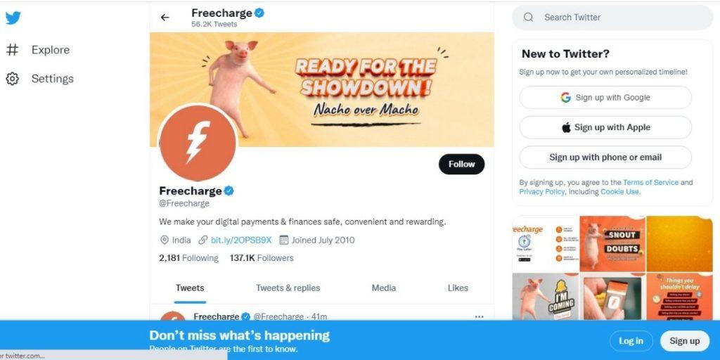 Freecharge Twitter