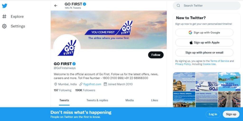 Go First Twitter