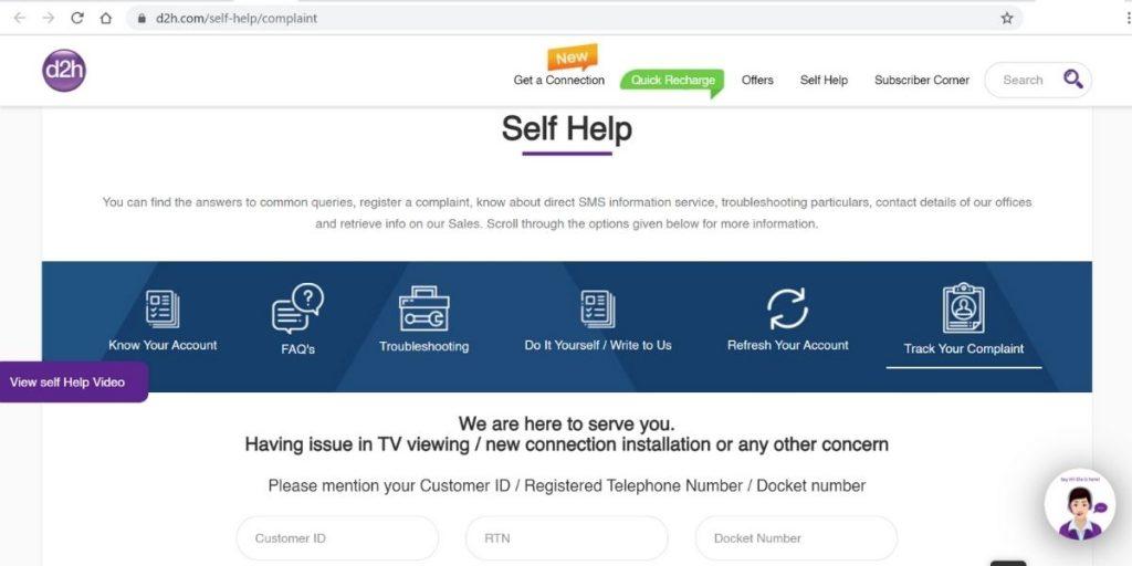 Videocon D2H Online Complaints