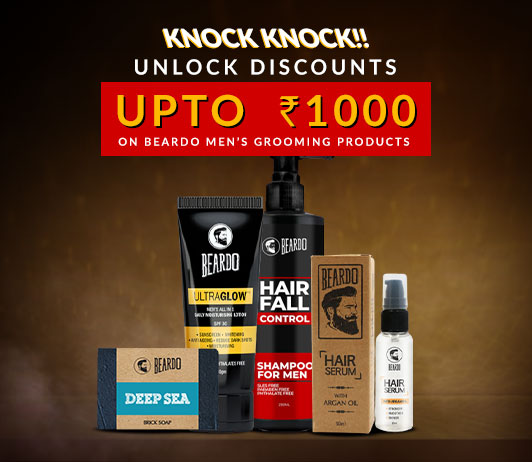 Knock Knock!! Unlock Discounts Upto Rs.1000 on Beardo Men's Grooming Products