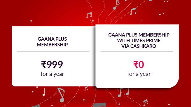 Free Gaana Plus with Times Prime via CashKaro