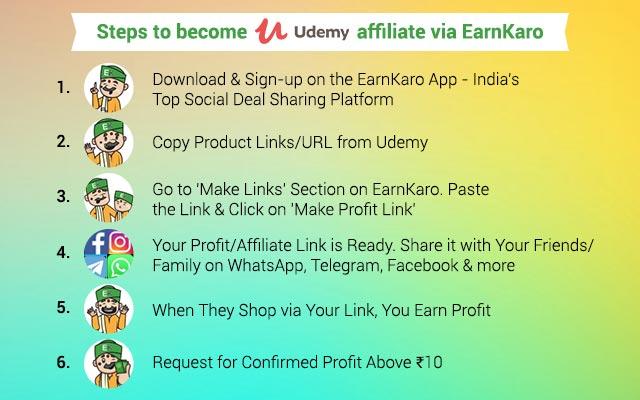 Become a Udemy Affiliate via EarnKaro