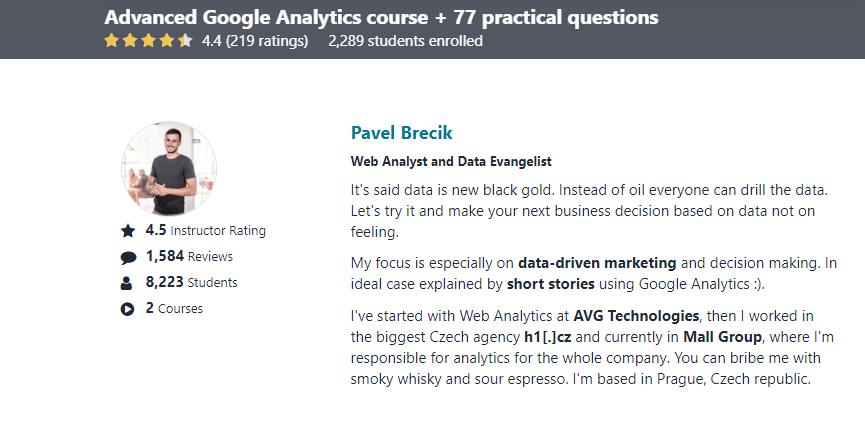 Google Anaytics Course Teacher