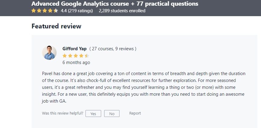Google Analytics Course Udemy Review