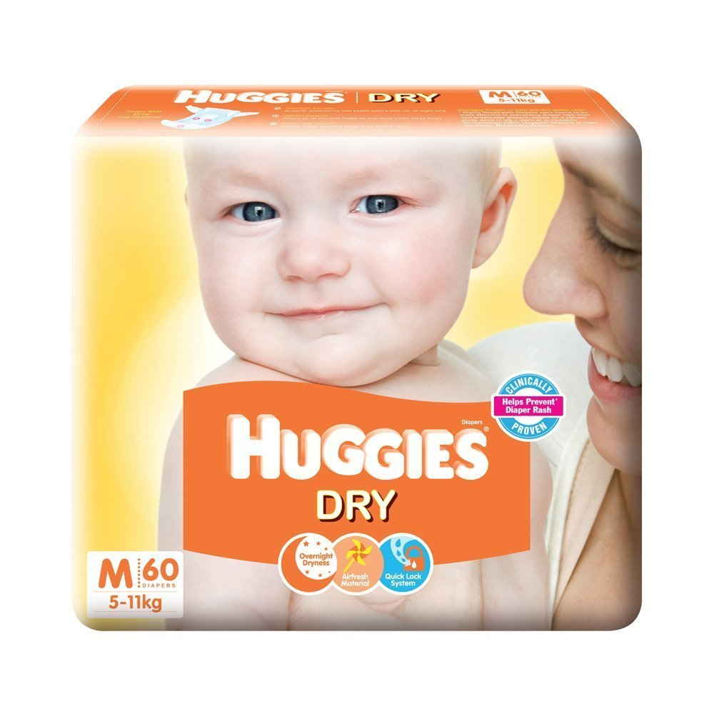 Huggies New Dry M Diapers (60 Pieces)
