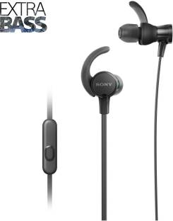 Sony Extra Bass MDR-XB510AS in-Ear Sports Headphones with Mic, Black