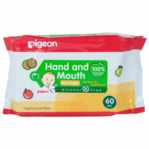 Pigeon Hand and Mouth Wet Tissues, 60 Pieces