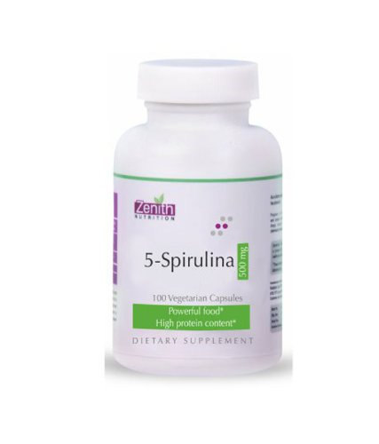 Zenith Nutrition 5 Spirulina 500mg Supplements (100 Capsules)