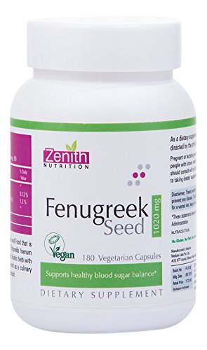 Zenith Nutrition Fenugreek Seed 1020 mg Supplements (180 Capsules)
